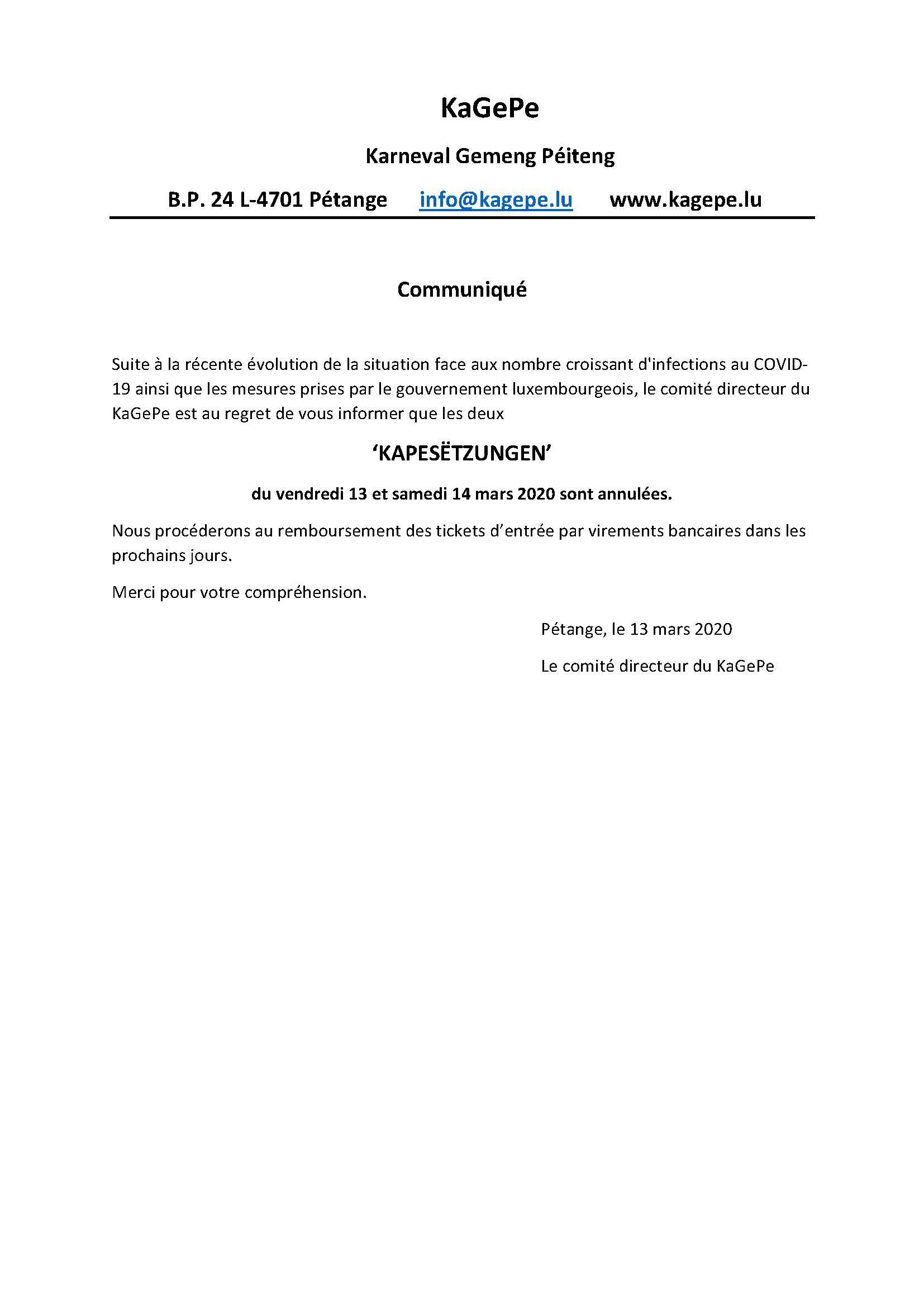 Communiqué Presse COVID-19 2020